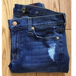 """7 FOR ALL MANKIND """"THE SKINNY"""" DISTRESSED JEANS"""